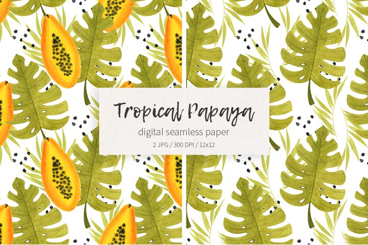 Watercolor tropical papaya fruit digital seamless papers