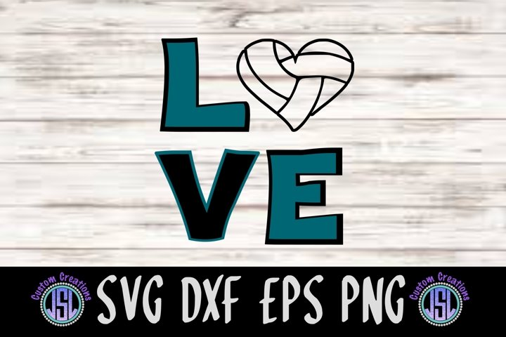 Love Volleyball Design   SVG DXF EPS PNG Cut File