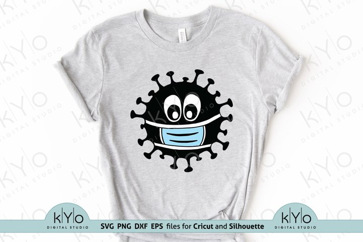 Virus with face mask svg png dxf eps files
