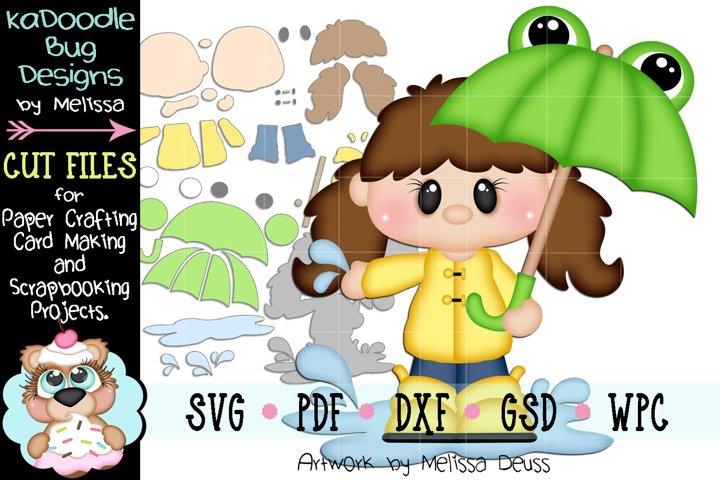 Rainy Frog Umbrella Girl Cut File - SVG PDF DXF GSD WPC