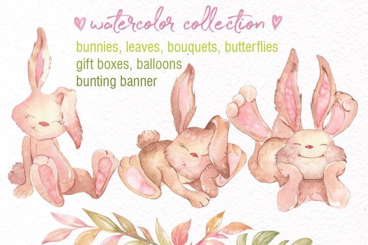 Watercolor Bunny Clipart example 2
