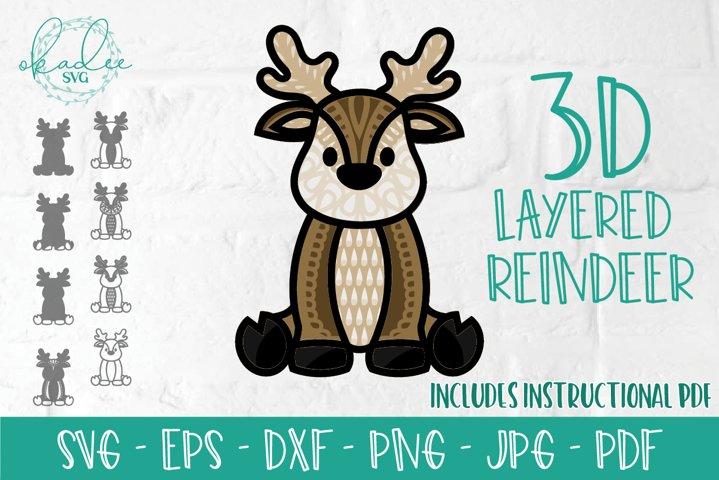 3D Layered Reindeer SVG, 3D Christmas, Layered Mandala, DXF