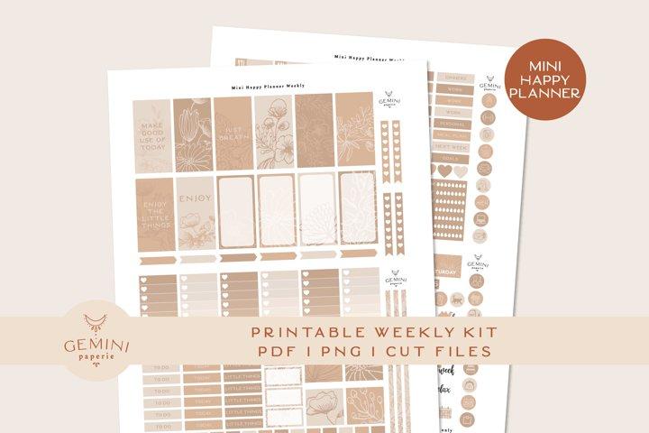 Printable Planner Stickers Weekly Kit, MINI HAPPY PLANNER