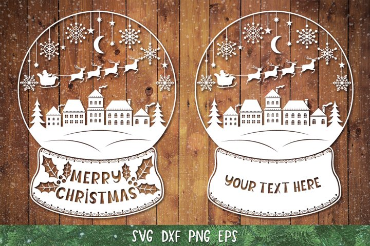Snow Globe SVG,DXF,PNG,Christmas Snow Globe,Paper Cut File