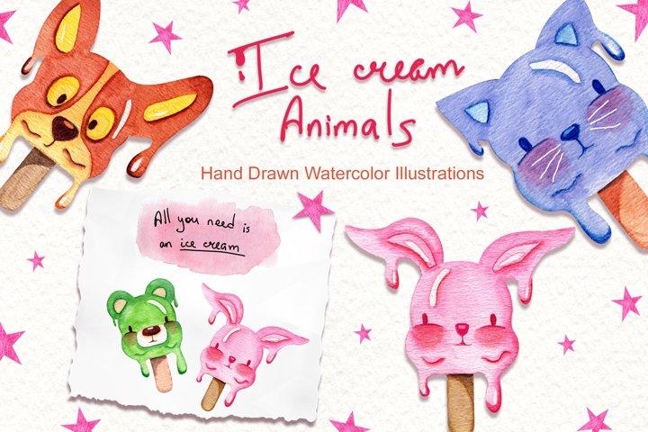 Watercolor Ice Cream Animals example