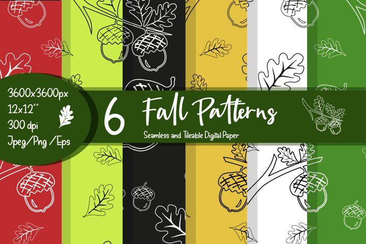 Fall bundle pattern on color background.