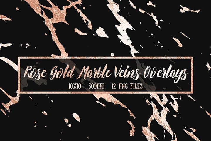 Rose Gold Foil Marble Overlays