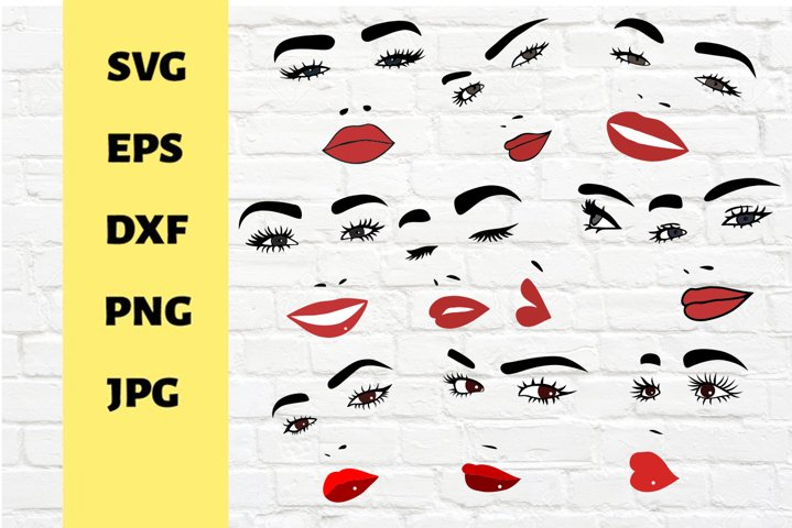 30 Bundle Files for Cricut, Face and lips designs
