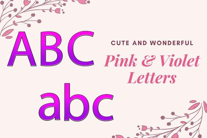 Decorative Alphabet, Purple and Pink Typography, Pink Sparkl