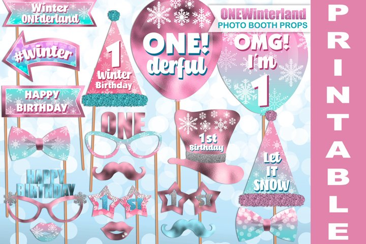 Pink Winter ONEderland photo booth props / PRINTABLE