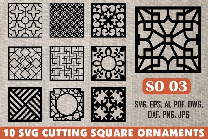 SO 03, 10 SVG CUTTING SQUARE ORNAMENTS