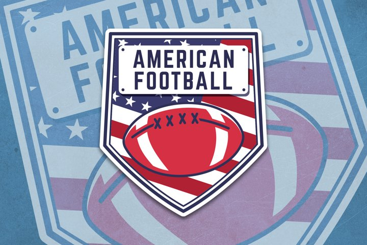 American Football SVG Logo. Editable Sports Template DXF PNG