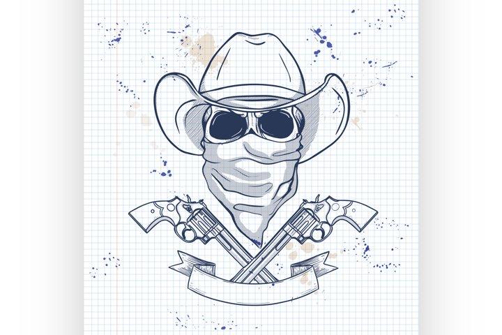 Sketch, skull with cowboy
