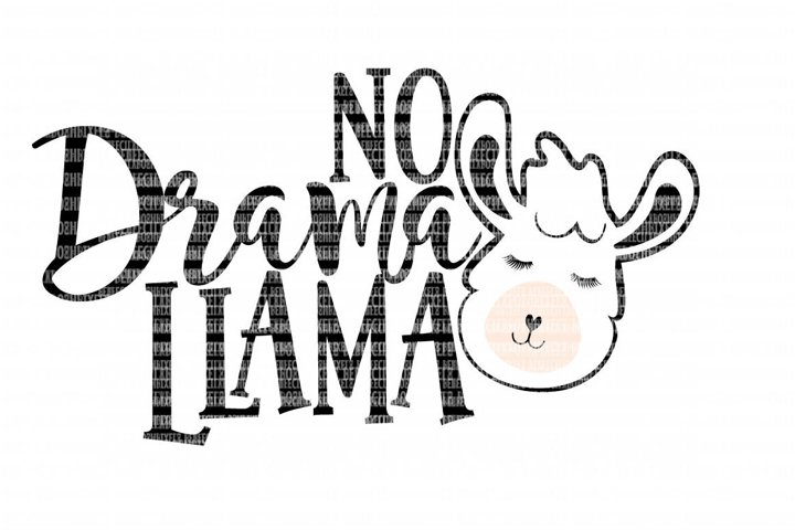 No Drama Llama SVG File, SVG Files for Cameo and Cricut Design Space, Iron on Decal, Printable Transfer, DXF Commercial Use,