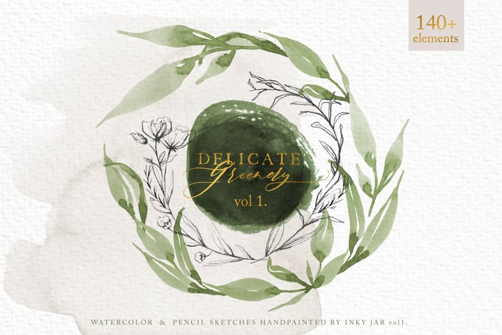 Delicate Greenery vol.1 Watercolor Pencil Sketches