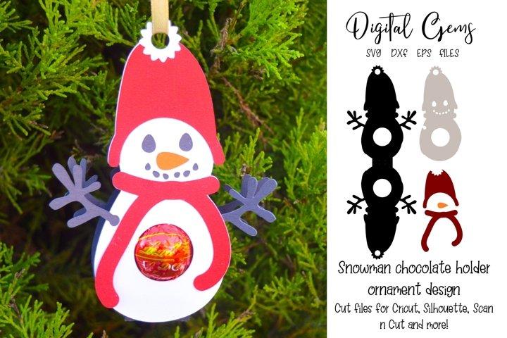 Snowman chocolate holder ornament / bauble design. SVG file.