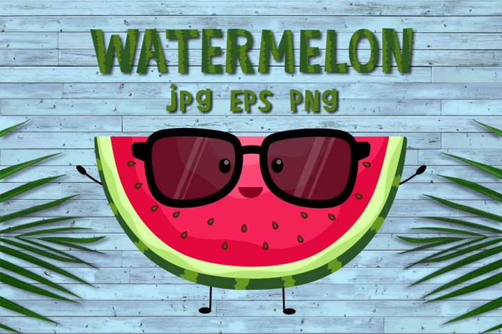 Watermelon clipart,kawaii summer fruit,sublimation PNG