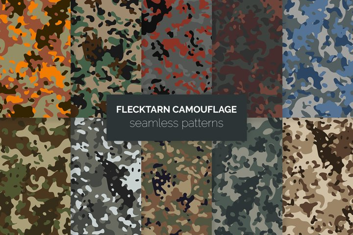 Flecktarn Camo Seamless Patterns