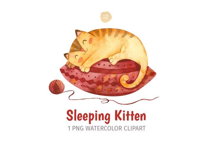 Watercolor Cat Clipart. Ginger Kitten Sleeping on Pillow