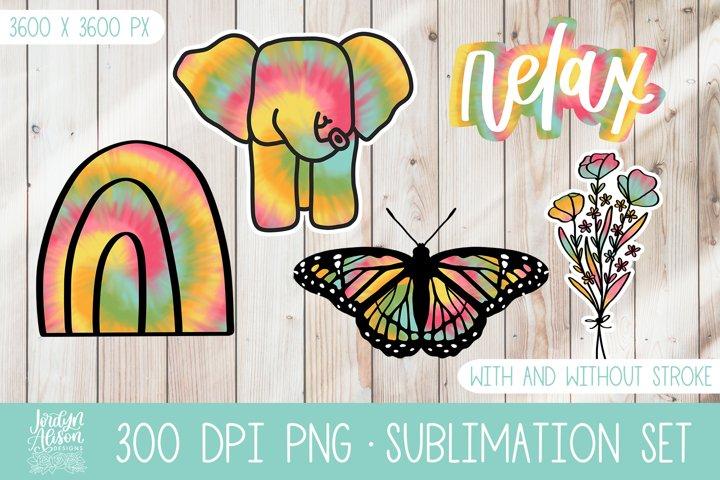 Tie Dye Sublimation Bundle, Clip Art Sticker Pack Set