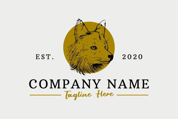 Wolf hand drawn logo design premium