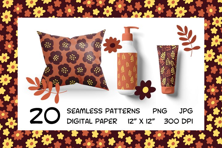 Chocolate set - seamless patterns - digital paper