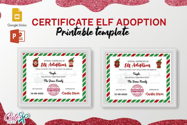 Certificate of Elf adoption Template editable with Google