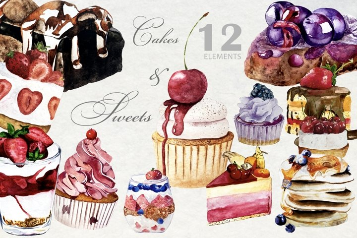 Watercolor Cake, Sweets and Desserts Clipart