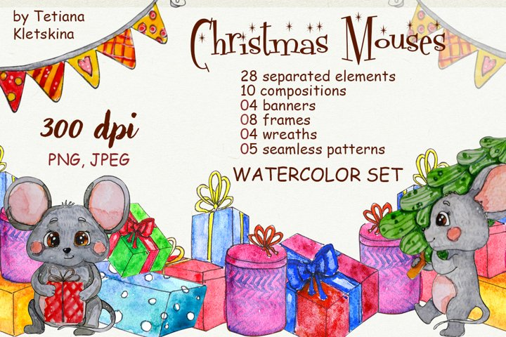 Christmas Mouses watercolor set