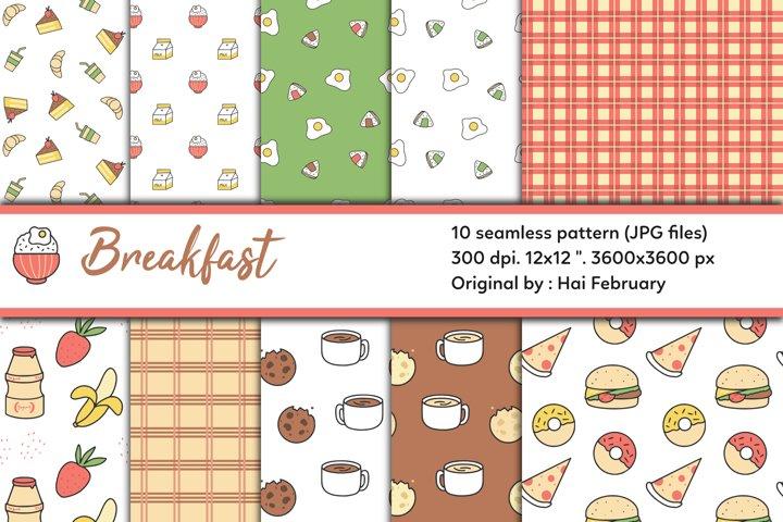Breakfast Digital Paper Seamless Pattern Set