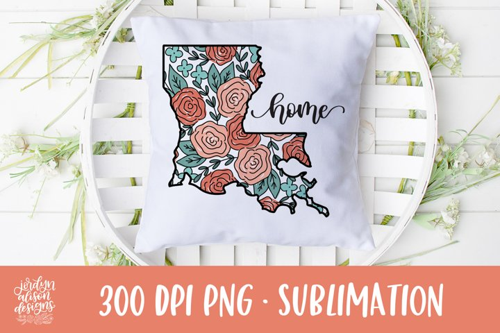 Home Louisiana, Coral Roses Sublimation Design