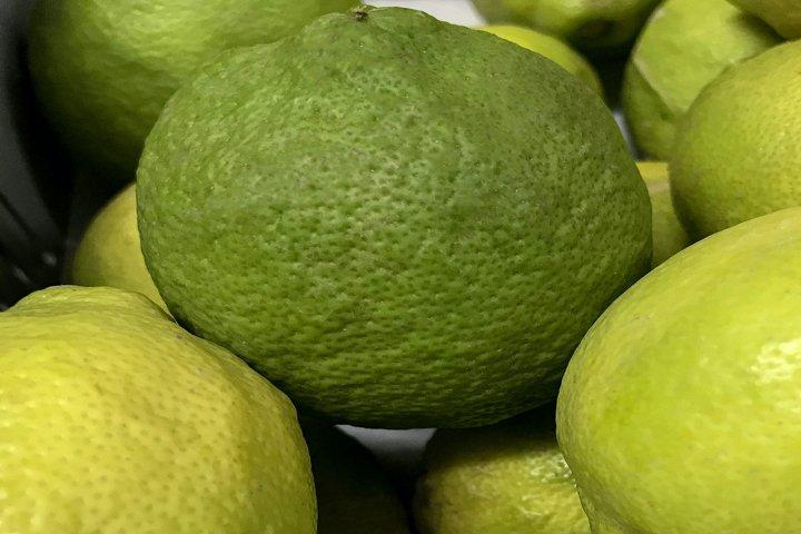 lemons lying on a shelf in a store