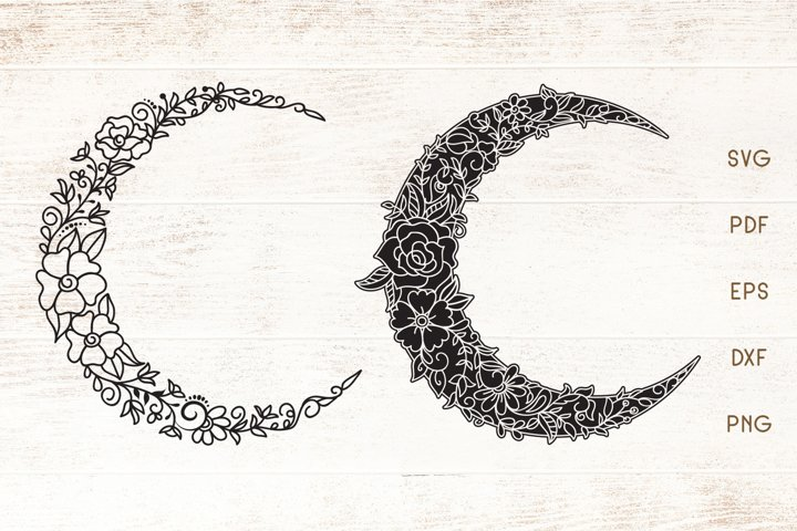 Floral Crescent Moon - SVG - Vector - Free Design of The Week