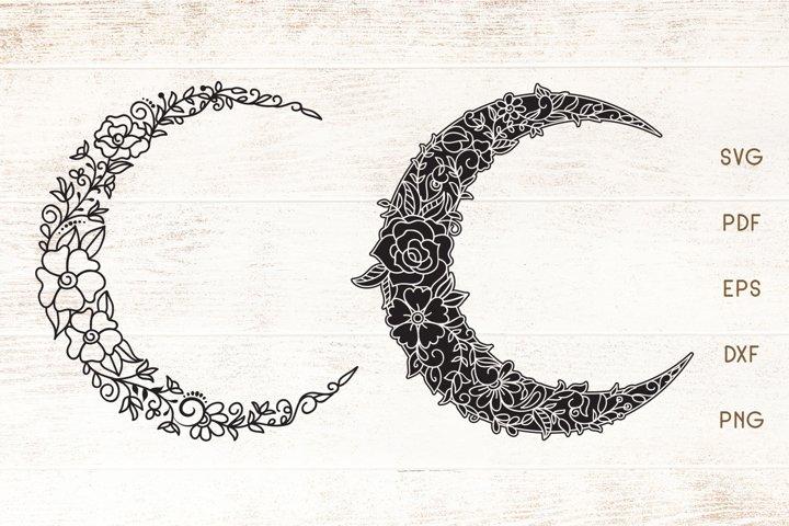 Floral Crescent Moon - SVG - Vector - Free Design of The Week Font