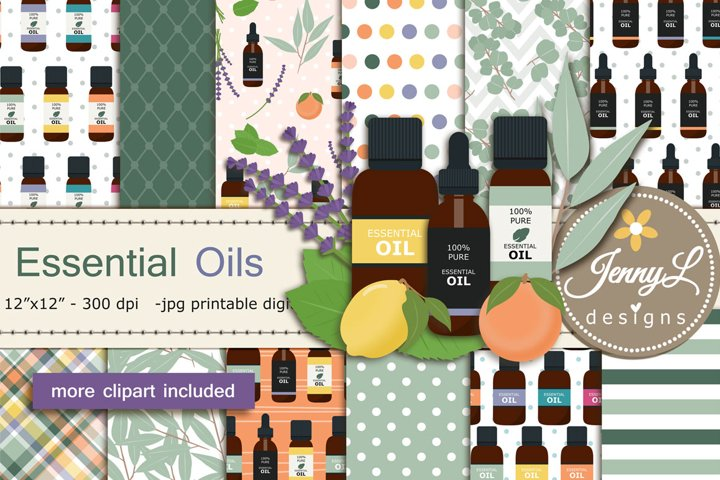 Essential Oils Digital Papers and Eucalyptus Clipart
