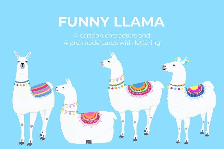 Adorable llama. Funny guanaco