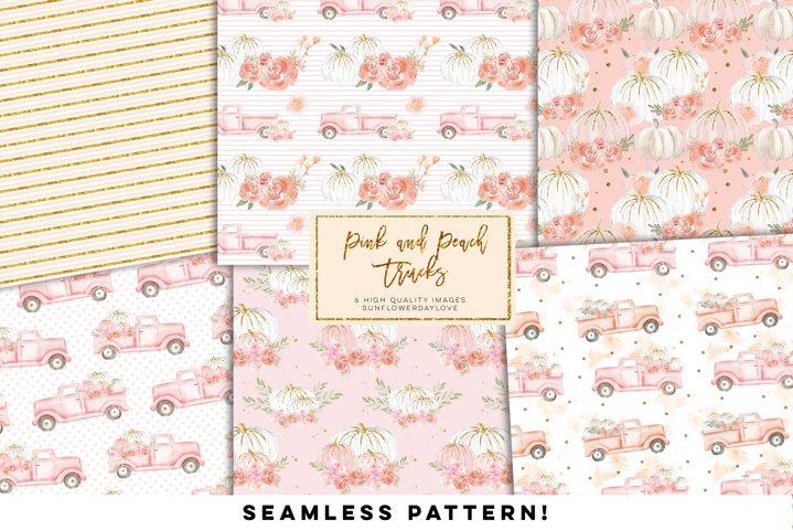 Pink and Peach Pumpkin Truck Digital Paper,