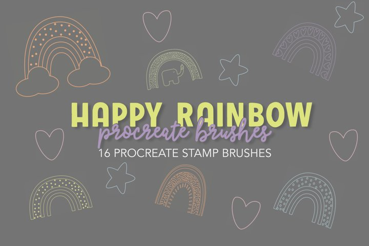 Happy Rainbow Stamp Brushes for Procreate