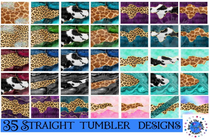 Straight tumbler bundle -35 piece bundle - Animal print