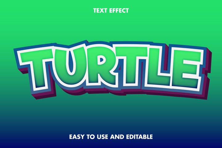 Turtle text effect. editable and easy to use. premium vector