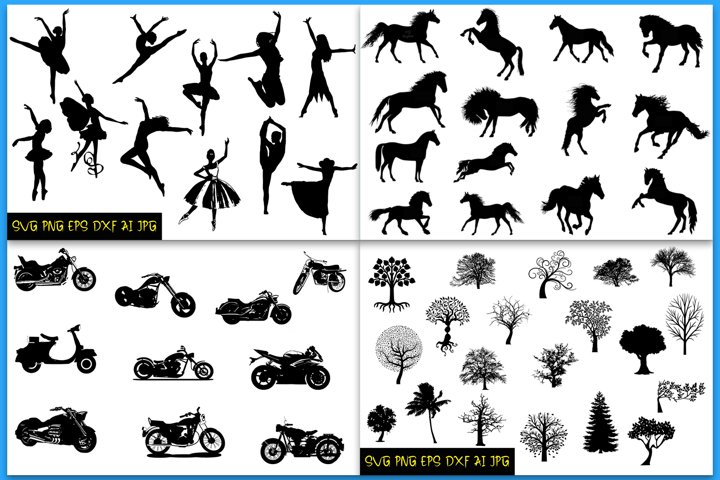 BUNDLE Silhouettes, Motorcycles, Ballerinas, Horses, Trees