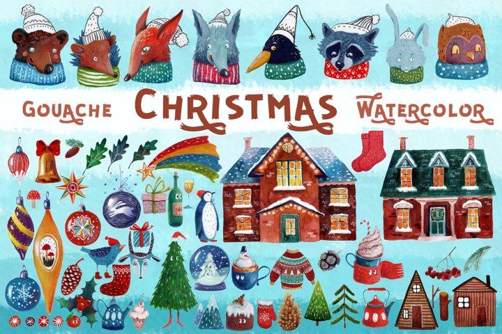 Christmas gouache and watercolor set