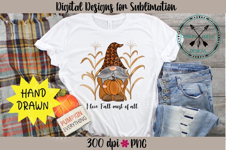 I love Fall Gnome Hand Drawn Pumpkin Patch Sublimation PNG