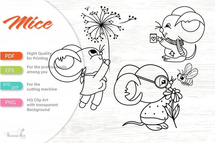3 Cute Mice - Wall or Window Decal - Cutting File