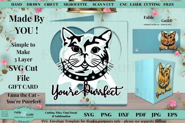 Cat SVG Valentines Gift Card Template Simple Layered Design