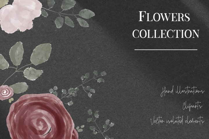 Big vector watercolor floral set and hand lettering