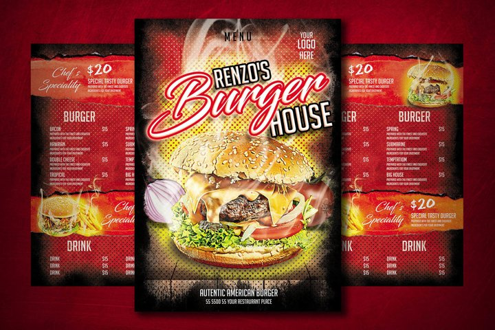 BURGER MENU TEMPLATE   Restaurant   Fast Food   Restaurant