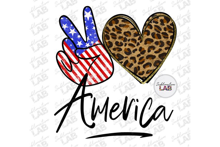 America Peace Love Design Sublimation Png Patriotic USA