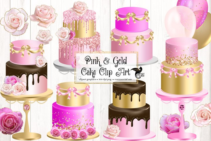 Pink and Gold Cakes Clipart