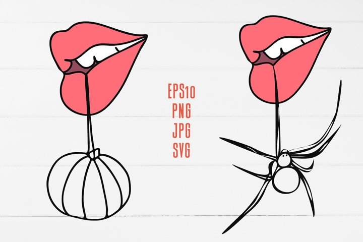 Rose halloween lips / Line art SVS and Sublimation design